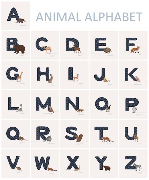 動物トラックと青い英語のアルファベット文字と近くの漫画のスタイルで動物。 Premiumベクター
