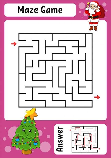 迷路。子供向けのゲーム。面白い迷路。教育開発ワークシート。 Premiumベクター