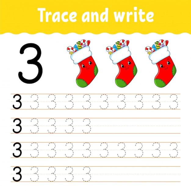 トレースと書き込み。手書きの練習。子供のための学習番号。教育開発ワークシート。 Premiumベクター