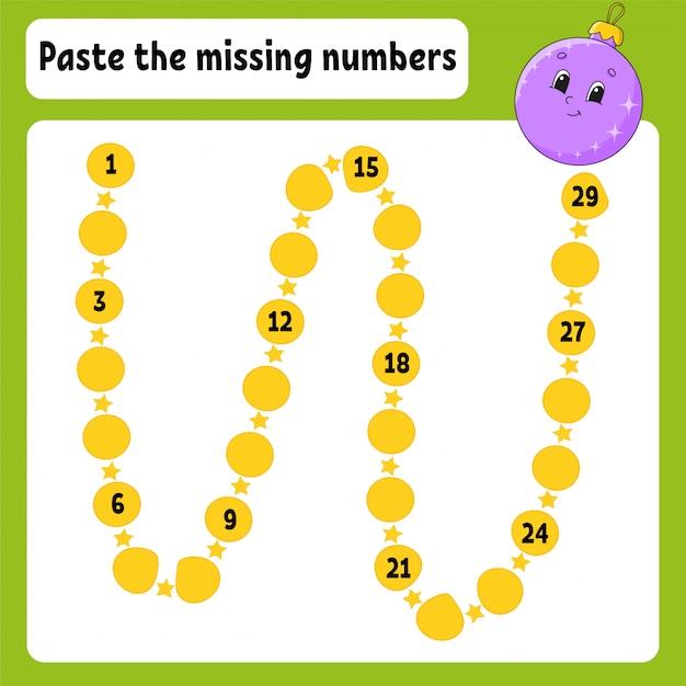Вставьте пропущенные номера. почерк практика. учим цифры для детей. рабочий лист развития образования. Premium векторы