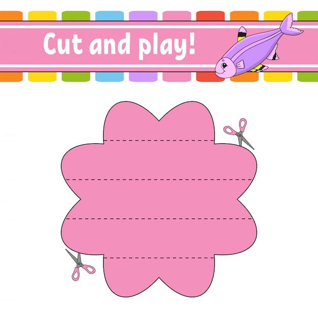 Режь и играй. логическая головоломка для детей. рабочий лист развития образования. обучающая игра. Premium векторы