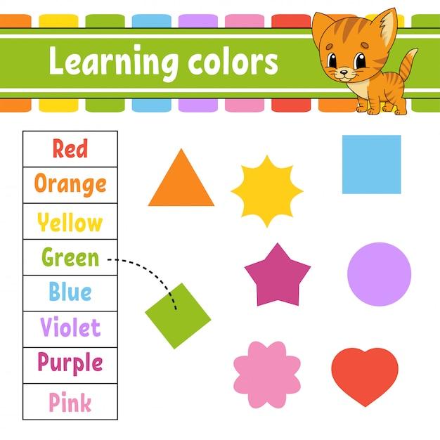 Учим цвета. рабочий лист развития образования. страница активности с картинками. игра для детей. Premium векторы