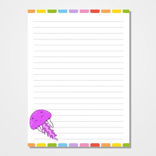 Шаблон листа для блокнота, блокнота, дневника. Premium векторы