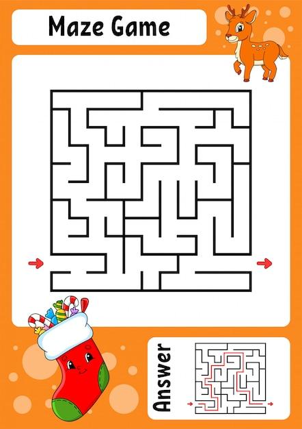 Лабиринт. игра для детей. забавный лабиринт. рабочий лист развития образования. страница активности. Premium векторы