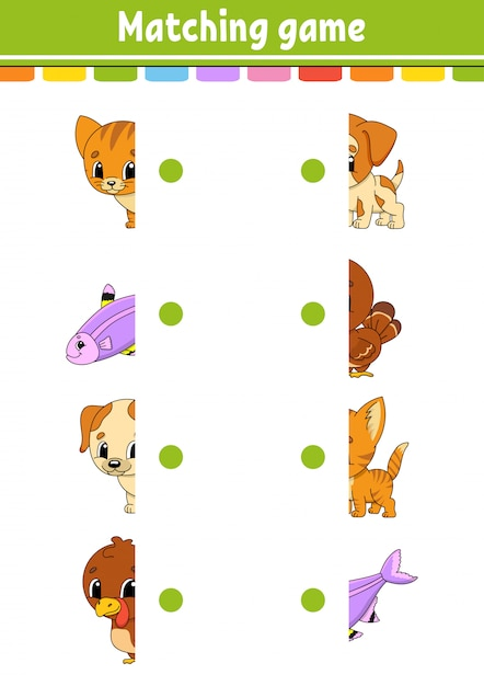 Подходящая игра. нарисуй линию. рабочий лист развития образования. страница активности с цветными картинками. Premium векторы