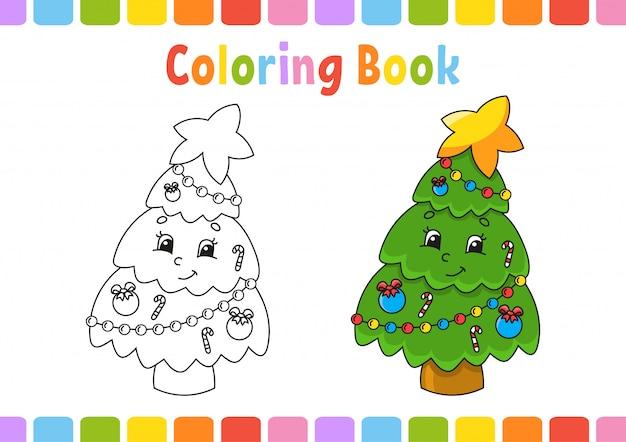 Книжка-раскраска для детей. веселый характер. векторная иллюстрация милый мультяшный стиль фэнтезийная страница для детей. Premium векторы