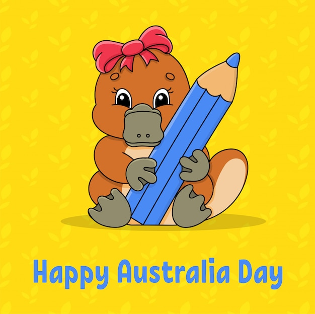 挨拶色正方形カード。ハッピーオーストラリアデー。かわいい漫画カモノハシは、その足に鉛筆を保持しています。 Premiumベクター