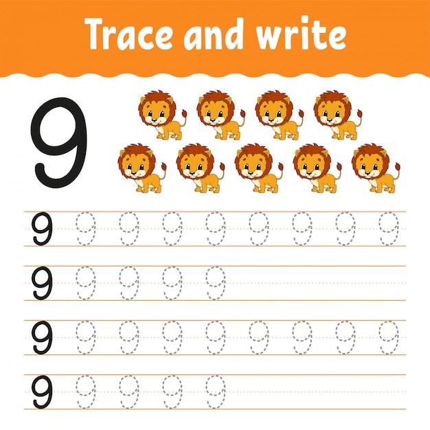 Проследи и напиши. почерк практика. учим цифры для детей. рабочий лист развития образования. Premium векторы
