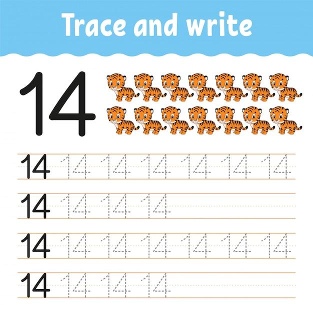 トレースと書き込み。手書きの練習。 Premiumベクター