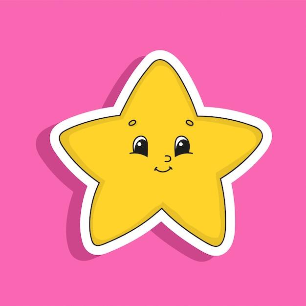 黄色の星。かわいいキャラクター。カラフルなベクトルイラスト。漫画のスタイル。孤立した Premiumベクター