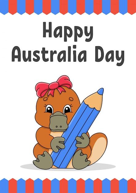 カモノハシと幸せなオーストラリアの日グリーティングカード Premiumベクター