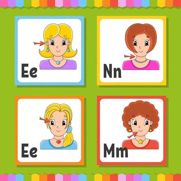 Набор карточек английского алфавита Premium векторы