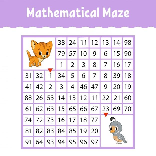 Математический цветной квадратный лабиринт. рабочий лист развития образования. Premium векторы