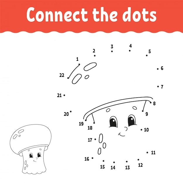 ドットにドット。線を引きます。手書きの練習子供のための数字を学ぶ。教育開発ワークシート活動ページ幼児や未就学児のためのゲーム。 Premiumベクター