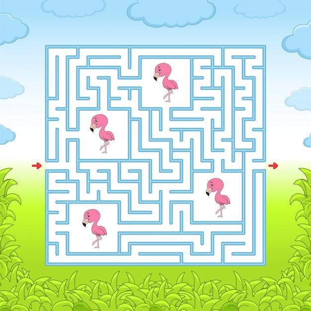 ピンクのフラミンゴ迷路。教育ゲーム Premiumベクター
