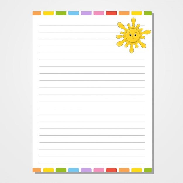 ノート、メモ帳、日記のシートテンプレート。 Premiumベクター