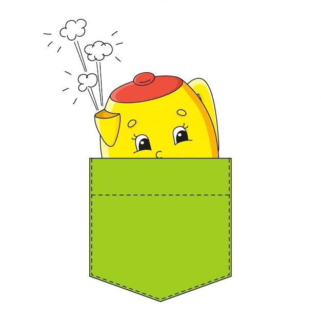 シャツのポケットに黄色のティーポット。 Premiumベクター