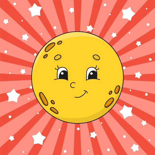 Желтая луна. Premium векторы