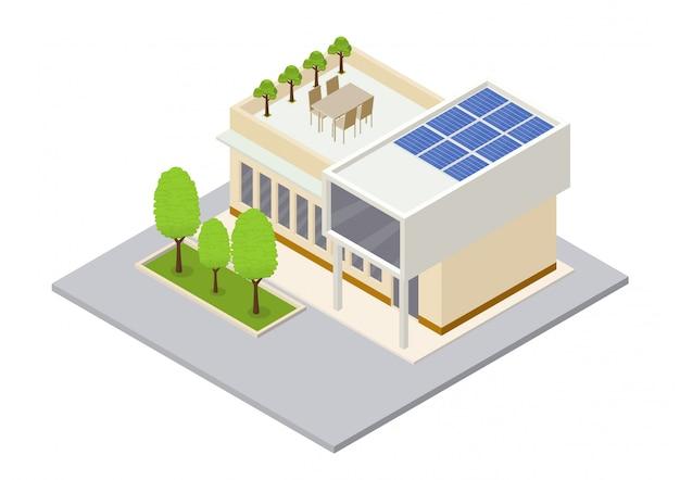 ソーラーパネルとモダンな緑のエコハウス Premiumベクター