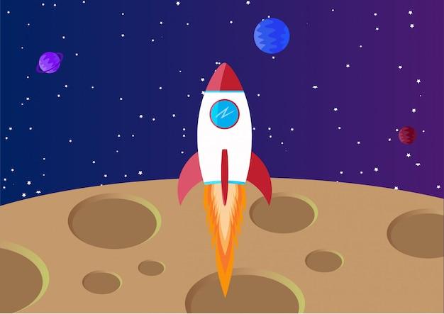 Космический фон с луной и ракетой Premium векторы