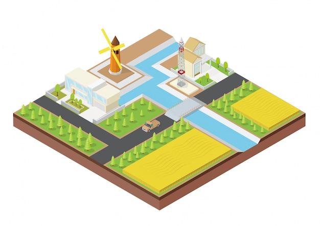 Изометрические ферма со зданием Premium векторы