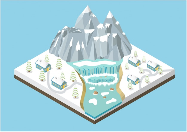 Изометрические зимние горы фон Premium векторы