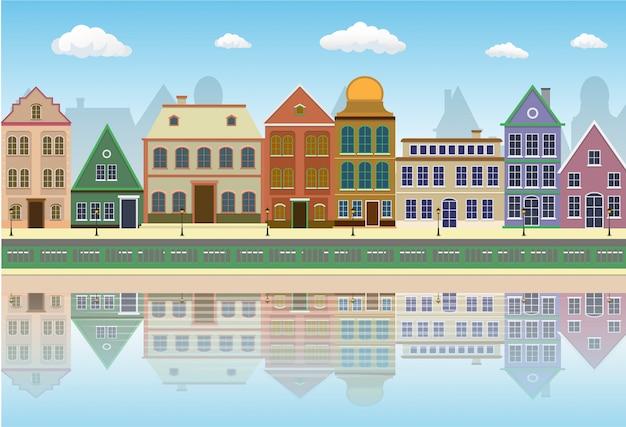 水の中の影と旧市街の通りの風景。 Premiumベクター