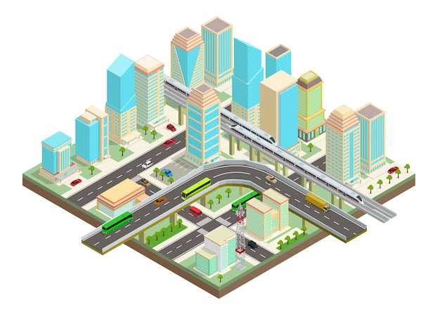 Изометрические умный город с небоскребами, шоссе и транспортом Premium векторы