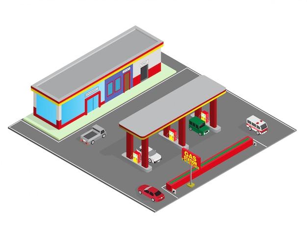 ガソリンスタンド Premiumベクター