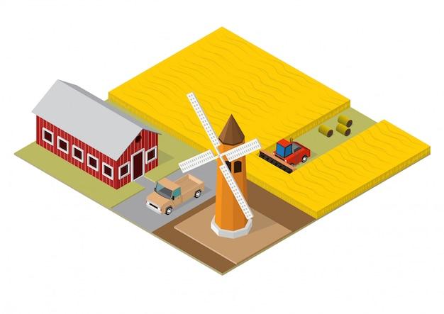 農業の等尺性建物 Premiumベクター