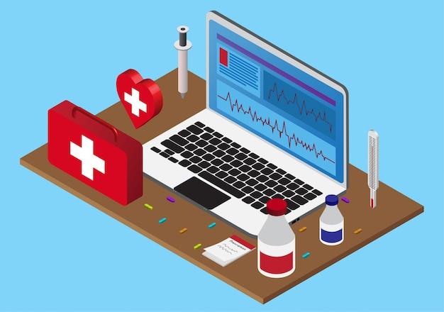 応急処置キット付き等尺性健康管理コンピュータ Premiumベクター