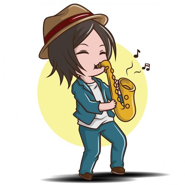 かわいい男の子がサックスを演奏、ジャズ音楽のコンセプト。 Premiumベクター
