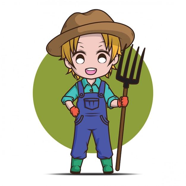Милый мультфильм молодой фермер держит грабли. Premium векторы