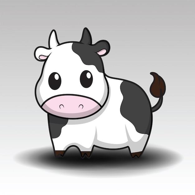 かわいい牛漫画 Premiumベクター