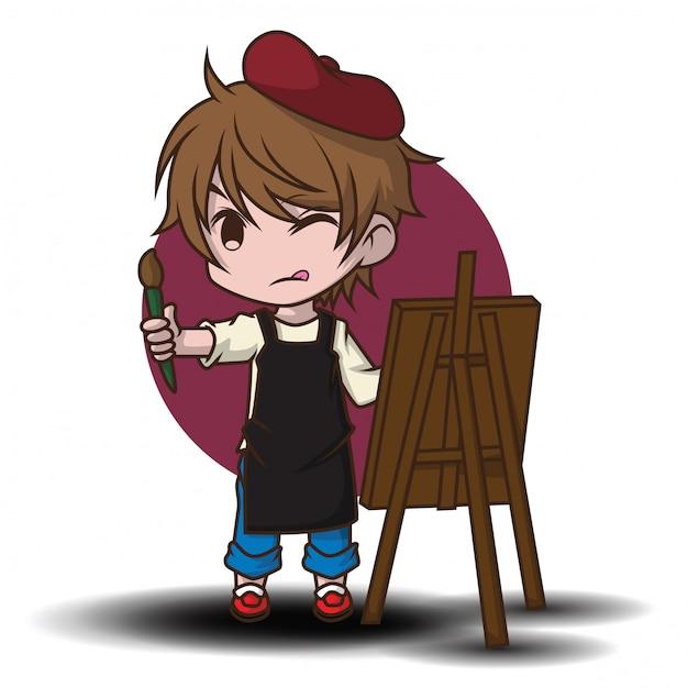 かわいいアーティストの漫画のキャラクター。 Premiumベクター
