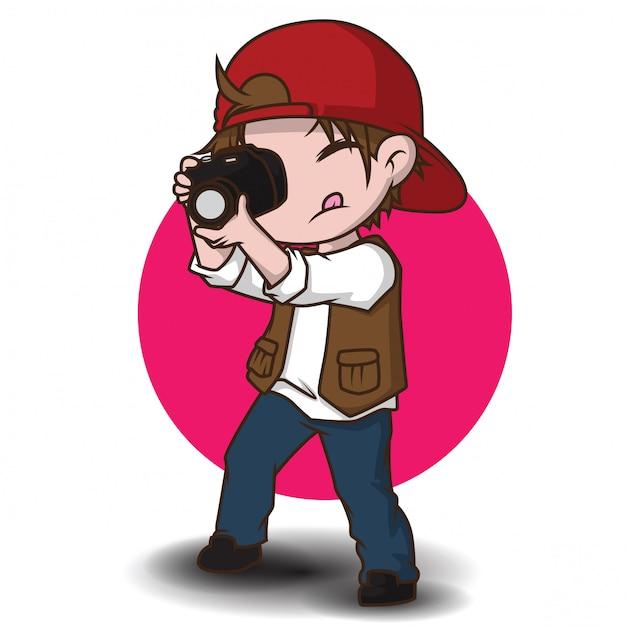 かわいい写真家の漫画のキャラクター。 Premiumベクター