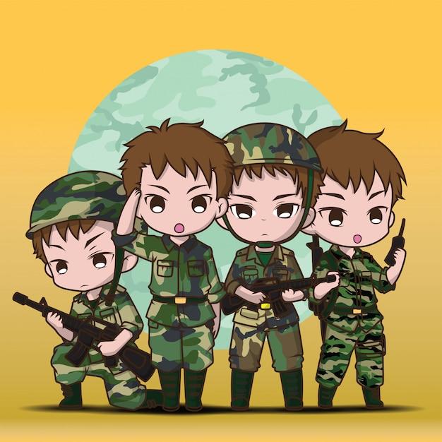 Симпатичный солдат армии мальчик установить мультфильм. Premium векторы