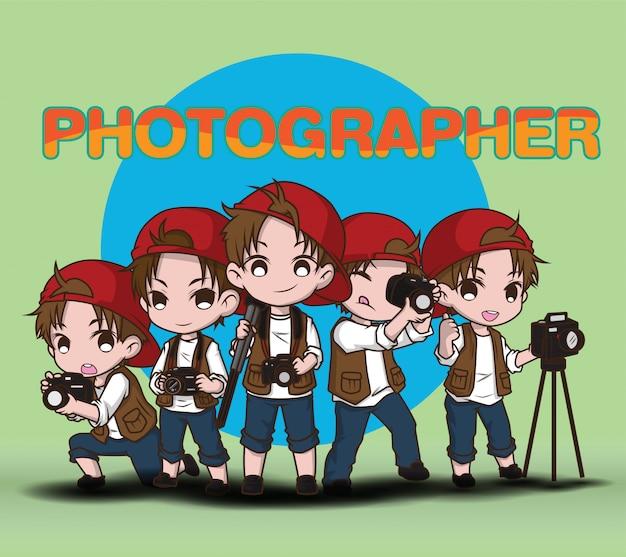 Установите милый фотограф мультипликационный персонаж. Premium векторы