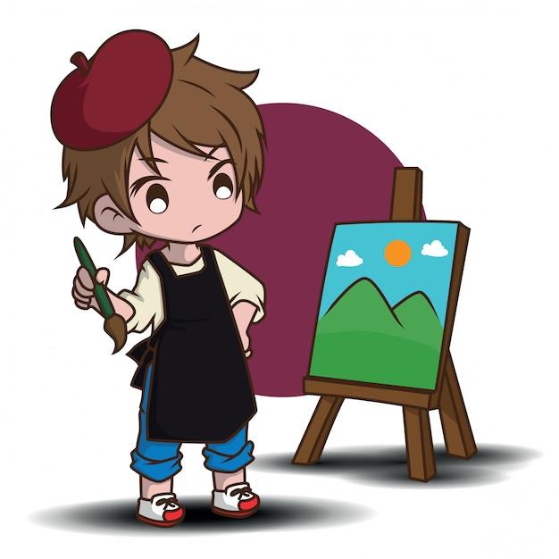 かわいいアーティストの漫画のキャラクター。仕事のコンセプトです。 Premiumベクター
