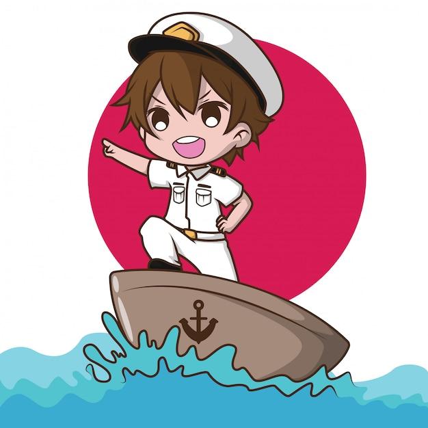 船員を着てかわいい笑顔の小さな男の子のキャラクター。 Premiumベクター