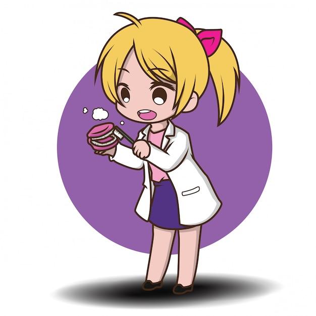 Милый мультфильм стоматолог, держа инструменты стоматолога Premium векторы