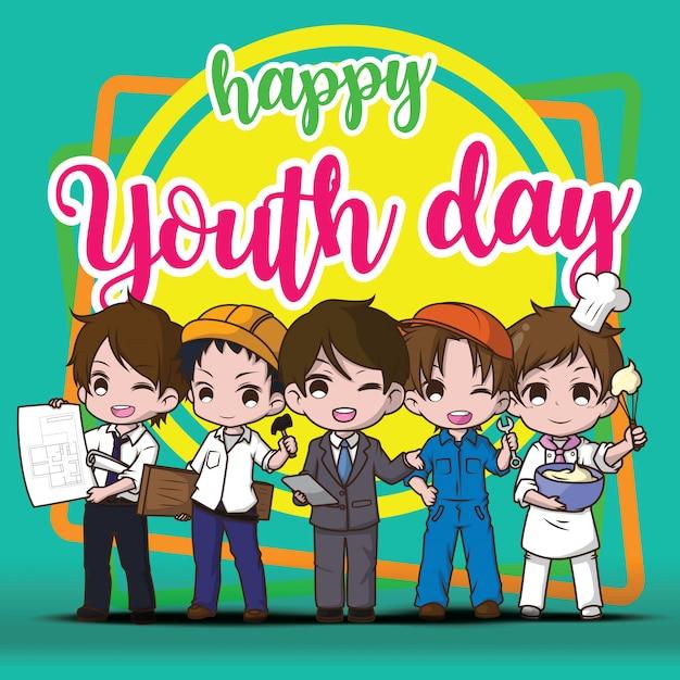 幸せな青春日。、仕事の子供たち。、仕事の概念。 Premiumベクター