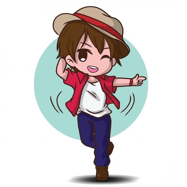 かわいいダンサーの漫画のキャラクター Premiumベクター