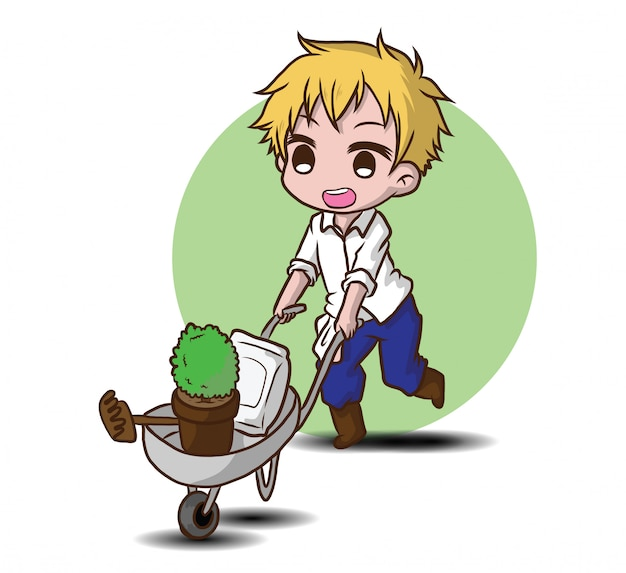 Милый характер садовника., концепция работы. Premium векторы