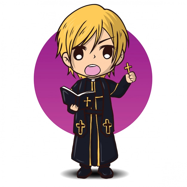 かわいい司祭の漫画のキャラクター Premiumベクター