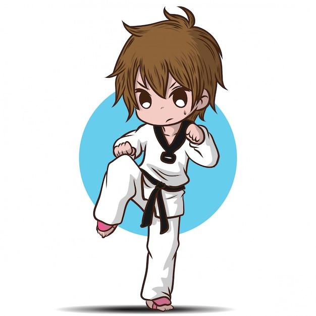 かわいいタクワンド少年漫画のキャラクター。 Premiumベクター