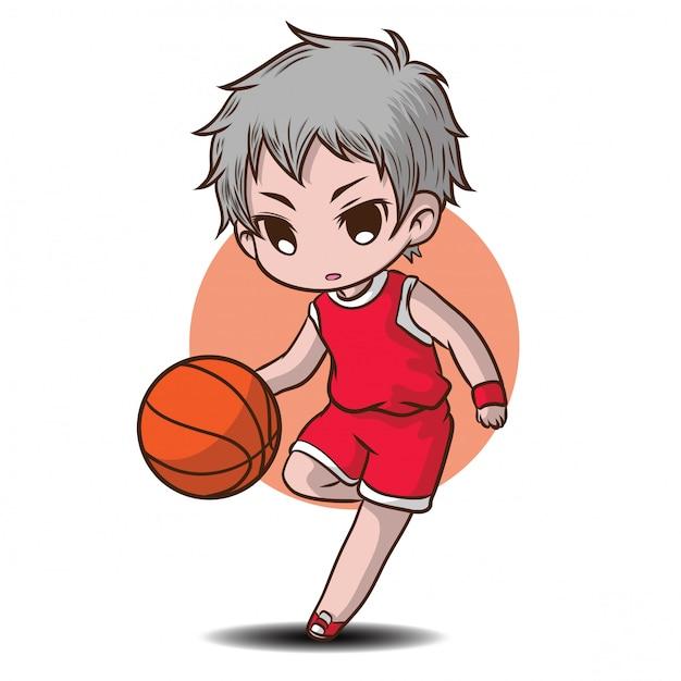Мультфильм милый мальчик играть в баскетбол Premium векторы