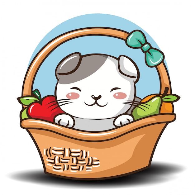 Симпатичные шотландская вислоухая кошка мультфильм вектор. Premium векторы