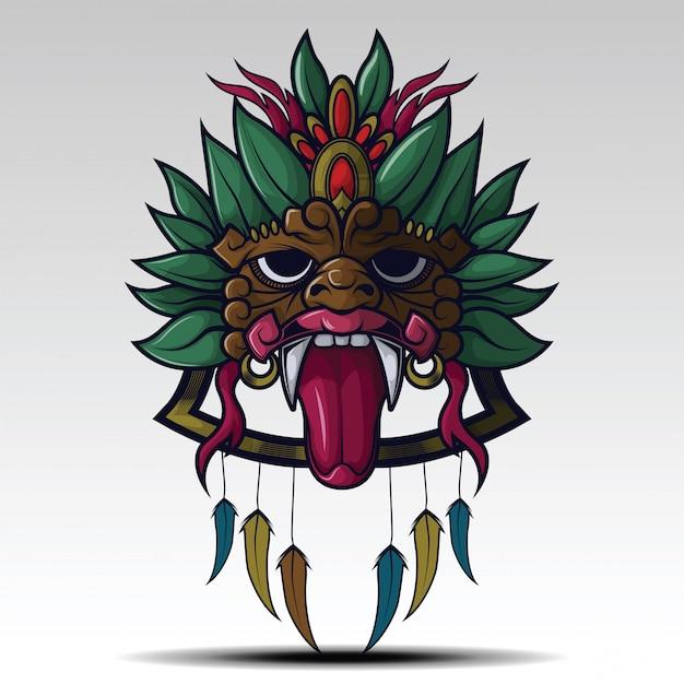 Искусство шамана маска тату концепции. Premium векторы