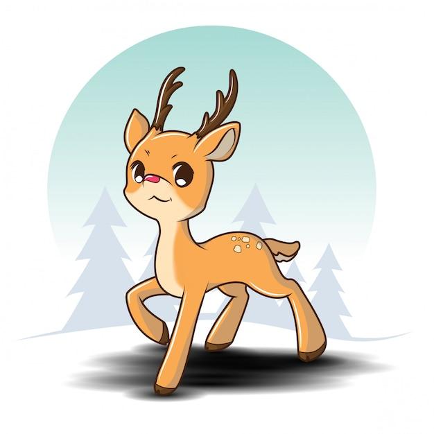 Милый персонаж из мультфильма северного оленя на сосновом лесе в зиме., шарж рождества. Premium векторы